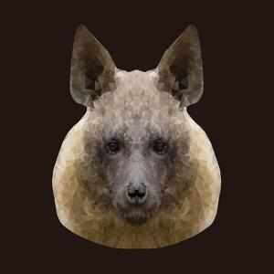 Canine Beast of Pray, Hyena, Low Poly Vector Portrait Illustration by Jan Fidler