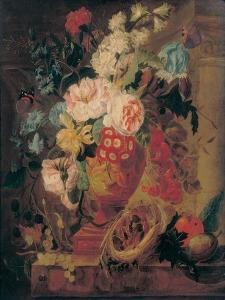 Flowers in a Terracotta Vase Decorated with Putti by Jan Frans Eliaerts