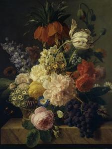 Corbeille de fleurs et grappe de raisin; dit aussi Fleurs et fruits by Jan Frans van Dael