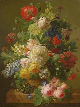Flowers in a Vase on a Marble Console Table, 1816