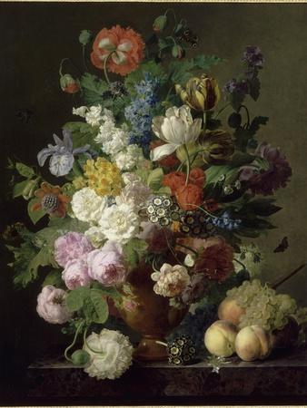 Vase de fleurs, raisins et pêches