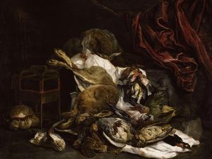 Chien auprès d'un étalage de gibier mort by Jan Fyt
