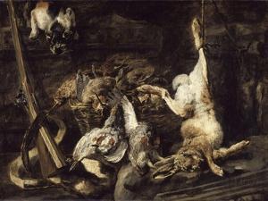 Gibier et attirail de chasse découverts par un chat by Jan Fyt