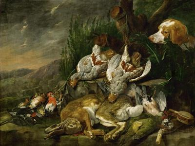 Hares and fowl (the bag) watched by a dog