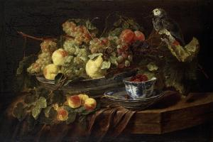 Still Life with Fruit and Parrot, 1645 by Jan Fyt