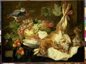 Still Life with Hare, Fruit and Parrot, 1647 by Jan Fyt