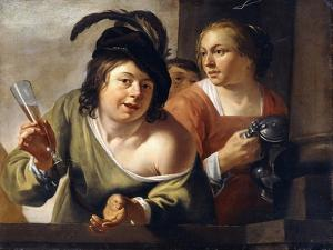 A Young Toper and a Serving Maid Drinking on a Balcony by Jan Gerritsz. van Bronckhorst