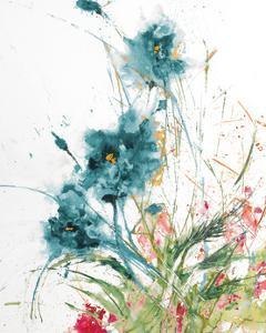 Flora Blue Crop on White by Jan Griggs