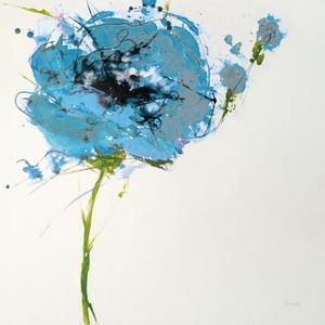 Turquoise Poppy Master on White by Jan Griggs