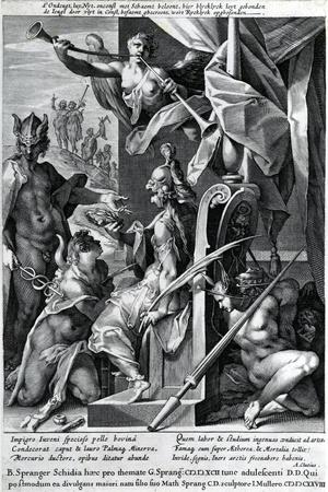 Mercury and Minerva Arm a Hero with a Bull's Hide and a Laurel Wreath, 1604