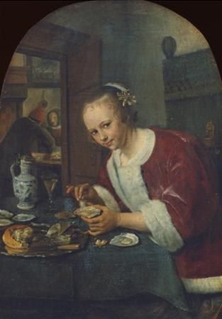 Girl Eating Oysters, about 1658-60 by Jan Havicksz. Steen