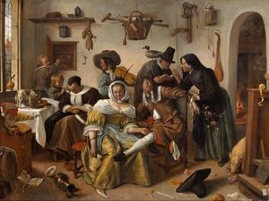 The Topsy-Turvy World (In Weelde Siet To), 1663 by Jan Havicksz Steen