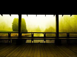 Covered Deck Looking onto Peaceful River and Fog by Jan Lakey