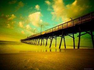 Deserted Pier under Turquoise Sky by Jan Lakey