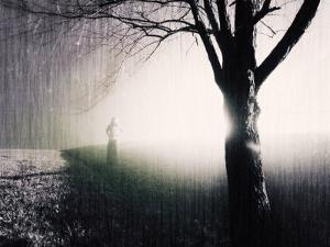 Standing in the Rain under Tree by Jan Lakey