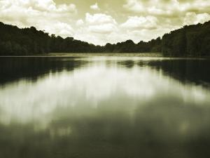 Water Reflecting Bordering Trees and Sky by Jan Lakey