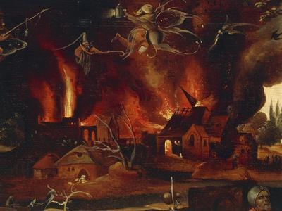 The Temptation of St. Anthony, Detail Showing the City in Flames and Demons
