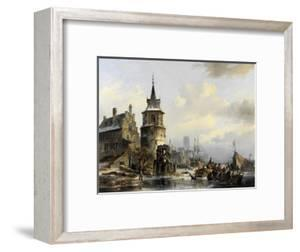 Holländische Winterlandschaft mit altertümlicher Stadt am Kanal. 1846 by Jan Michael Ruyten