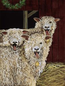 3 Sheep with their Tongues Hanging Out and the Curly Wool Hanging over their Left Eye by Jan Panico