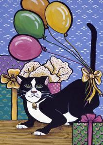 A Cat with 4 Balloons Tied to its Tail Surrounded by Gifts by Jan Panico