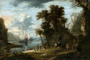 Paisaje Con Desembarco de Holandeses en Tierras de Brasil, C 1640, Museo Del Prado, Madrid, Spain by Jan Peeters