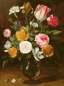Still Life of Flowers in a Glass Vase (Panel) by Jan Philip Van Thielen