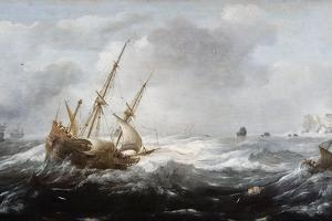 Ships in a Storm on a Rocky Coast, 1614-1618 by Jan Porcellis
