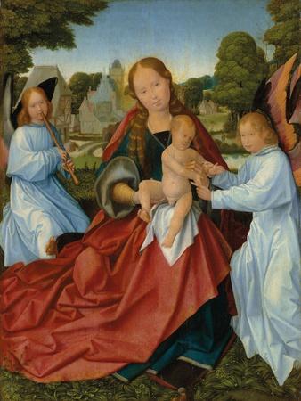 Maria mit Kind und zwei Engeln in einer Landschaft