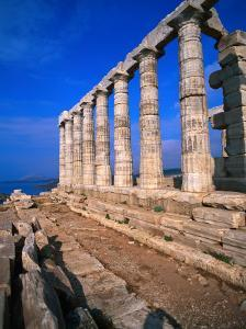 Superb Ruins of the 4th Century BC Temple of Poseidon on the Apollo Coast, Athens, Attica, Greece by Jan Stromme
