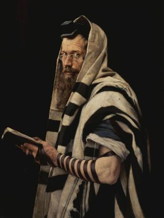 Rabbi with Tefillin by Jan Styka