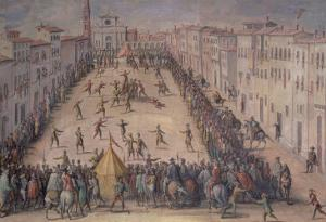 A Game of Football in the Piazza Santa Maria Novella, Florence, 1555 by Jan van der Straet