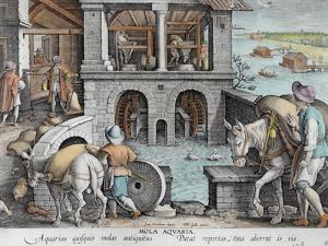 A Water Mill, plate 11 from 'Nova Reperta' by Jan van der Straet