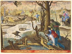 Birdcatchers Using Traps Baited with Rats to Capture Hawks by Jan van der Straet