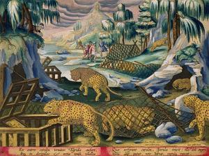 Capturing Leopards, Plate 15 from Venationes Ferarum, Avium, Piscium by Jan van der Straet