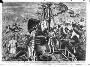 Christopher Columbus (1451-1506) on Board His Caravel, Discovering America by Jan van der Straet