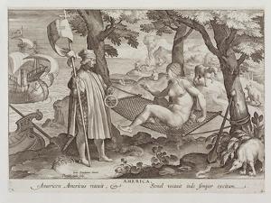 "Columbus Discovering America, Plate 2 from ""Nova Reperta"" by Jan van der Straet"