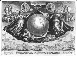 Discovery of America with Portraits of Amerigo Vespucci (1454-1512) and Christopher Columbus by Jan van der Straet