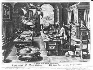 """Flavio Gioia of Amalfi Discovering the Power of the Lodestone, Plate 3 from """"Nova Reperta"""" by Jan van der Straet"""