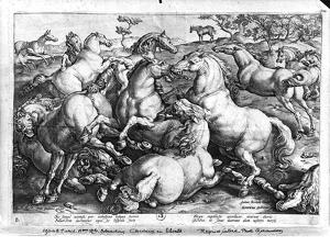 Horses in the Wild by Jan van der Straet