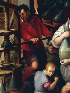 Potions and Alchemical Processes, Detail from Alchemist's Workshop by Jan van der Straet