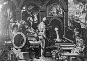 Pulvis Pyrius, Plate 3 from 'Nova Reperta', Engraved by Philip Galle, C.1580-1605 by Jan van der Straet