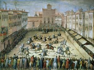 The Joust in the Piazza Santa Croce, Florence, 1555 by Jan van der Straet