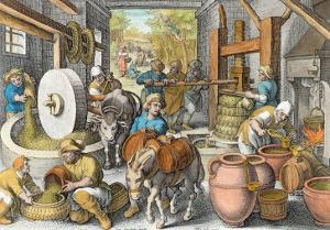 The Production of Olive Oil, Plate 13 from Nova Reperta by Jan van der Straet