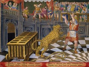 The Roman Emperor Commodus Fires an Arrow to Subdue a Leopard Which Has Escaped by Jan van der Straet