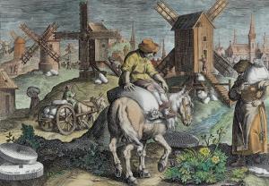 Windmills, from 'Nova Reperta' by Jan van der Straet