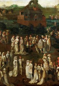 Court Society in Front of a Burgundian Castle by Jan van Eyck