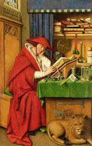 St. Jerome in His Study (Oil on Linen Paper on Panel) by Jan van Eyck