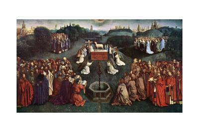 'The Adoration of the Mystic Lamb', The Ghent Altarpiece, 1432, (c1900-1920).Artist: Jan van Eyck