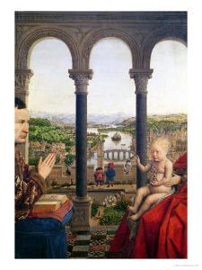 The Rolin Madonna, Detail of the View Between the Columns, circa 1435 by Jan van Eyck
