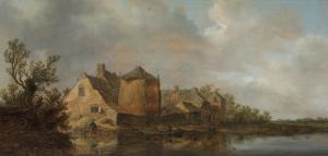 River Scene with an Inn. Dutch Style Landscape Painting by Jan Van Goyen
